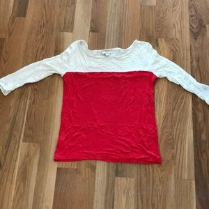 Loft red and white top